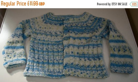 Christmas In July Handknitted Child's Cardigan in White and Blue size 12-18 month old