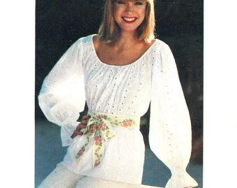 1970s Top Pattern Romantic Peasant Blouse Butterick Sew and Go Uncut Vintage Sewing Women's Misses Size 10 Bust 32. 5 Inches