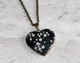 Black Flower Locket Necklace, Floral Necklace, Heart Locket Necklace