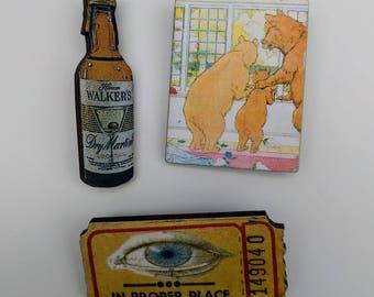 3 x Wooden Brooches - Ticket, Bottle, Three Little Bears (SET A8)