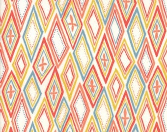 Midnight Garden Fabric // White with Coral Diamonds Quilting Fabric  // 1canoe2 // cotton quilting