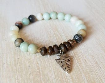 Amazonite bracelet, boho jewelry, beaded bracelet for women, mothers day gift mom gifts from daughter, arrowhead jewelry