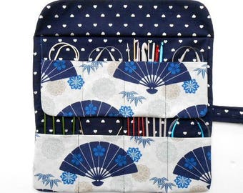 Japanese Fans Circular Knitting Needle Case, Blue Silver Crochet Hook Roll, 8 Pockets for Holding Needles and Knitting Supplies, DPN Storage