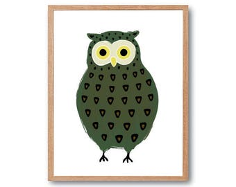 Owl Art Print, Owl Art Print, Owl Decor, Owl Nursery, Woodland Animal, Animal Illustration, Woodland Nursery