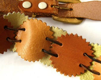 Vintage BOHO Hippie Leather and Suede Link Belt / Brown and Tan Leather Belt with Brass Buckle