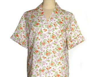 1960s Vintage Floral Print Blouse from Lady Manhattan Dead Stock with Tags Short Sleeves / Size 16