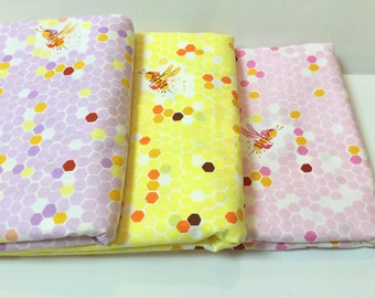 1 FQ Heather Ross Briar Rose ~ Hex Bee ~ 3 colors ~ Pink + Yellow + Lilac ~ Windham Fabrics, Cotton Quilt Fabrics