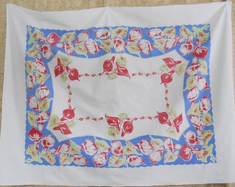Vintage Floral Tablecloth • Century Tablecloth • Colorful Blue Red Chartreuse