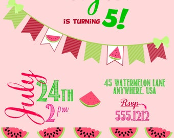 Summer Watermelon Invitation /Birthday Party / First Birthday / Vintage / For Any Age / Summer Picnic Party