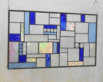 Stained Glass Transom Window, Shades of Blue Mixed Media Stained Glass Panel, OOAK Geometric Vintage Window, Stained Glass Window Valance