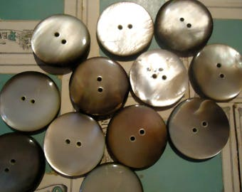 """Vintage Mother of pearl buttons 1  1/16"""" black 9 large 2 holes new old stock USA antique"""