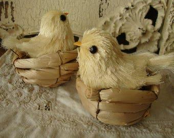 bird in nests decoration Easter chicks crafts supplies Spring Summer kids crafts birds spring table decorations vintage style garden craft
