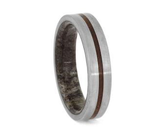 Deer Antler Wedding Band With Ironwood Burl Pinstripe, Wooden Ring With Titanium, Man Wood Ring