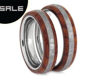 SALE - Tulipwood Meteorite Wedding Band Set With Titanium Sleeve, Gibeon Meteorite Rings, Handmade Jewelry