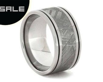 SALE - Titanium Ring Featuring a Spectacular Meteorite Inlay Offset With Black Enamel Pinstripes
