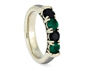 Four Stone Birthstone Ring, White Gold Ring With Meteorite, Emerald And Sapphire Ring