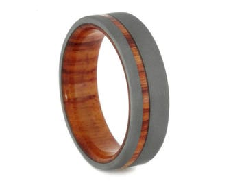 Wood Wedding Band, Sandblasted Titanium Ring With Tulipwood Sleeve And Pinstripe, Mens or Womens Wood Ring