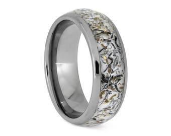 White Stardust Ring With Meteorite And Yellow Gold, Titanium Wedding Band, Meteorite Jewelry