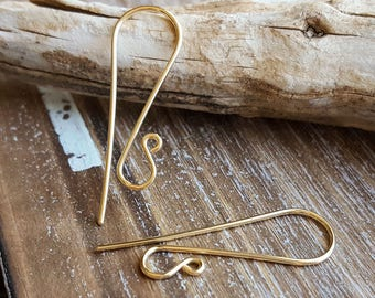 Gold Ear Wires, Earring Findings, Interchangeable Ear Wires, 14k Gold Filled Yellow or Rose - 1 Inch Slenders