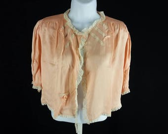Vintage rayon bed jacket pajama top 1930s peach lace size small chest 36