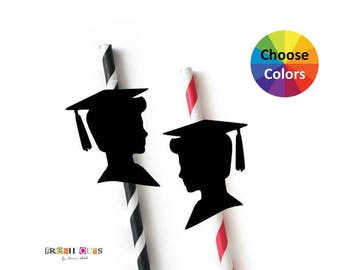 Graduation Boy Silhouettes Cupcake Topper Straw Topper Confetti Party Decorations Die Cuts Party Supply Set Of 15 Pick Your School Colors