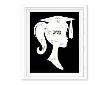 Graduation Guest Book Signature Alternative Girl Silhouette Memory Keepsake To Frame Wall Art Party Guestbook 2018 Graduation Decoration