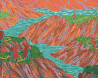 Original Painting - River Through the Painted Hills