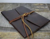 Baby Book in Dark Brown Leather with sky map