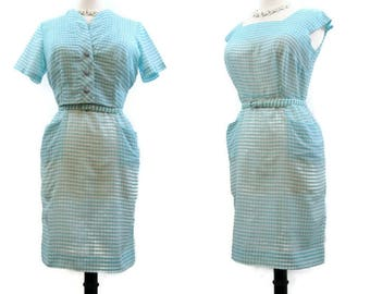 Vintage 50s Dress Gingham Cotton Wiggle Sheath Bolero Jacket Rockabilly L