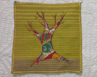Winter tree: embroidered mug rug from recycled fabric