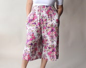 RESERVED plus size vintage culottes | floral wide legged culottes, size 16-18