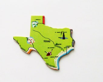 1961 Texas Brooch - Pin or Adornment / Unique Wearable History Gift Idea / Upcycled Vintage Wood Jewelry / Timeless Gift Under 25