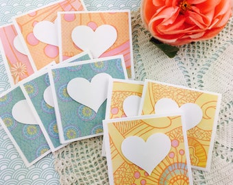 Mini Heart Cards Calypso Collection Set of 9