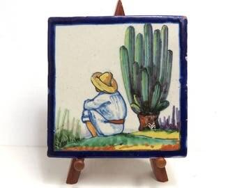 Mexican Folk Art Tile/ Vintage Ysauro Uriarte Puebla Mexico Talavera Pottery Tile