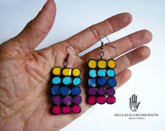Multi Color Dots Square Earrings
