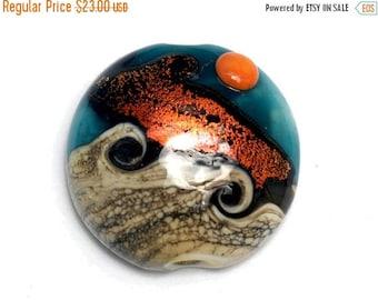 ON SALE 35% OFF Handmade Glass Lampwork Bead - Romantic Isle Waves Lentil Focal Bead 11833702