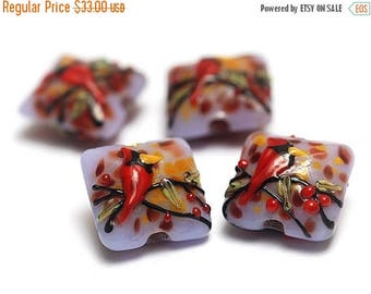 ON SALE 35% OFF Glass Lampwork Bead Sets - Four Autumn Red Cardinal Pillow Beads  - 11007714