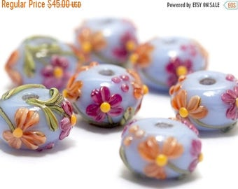 ON SALE 30% off Handmade Glass Lampwork Bead - Seven Morgan's Bouquet Rondelle Beads 10604401
