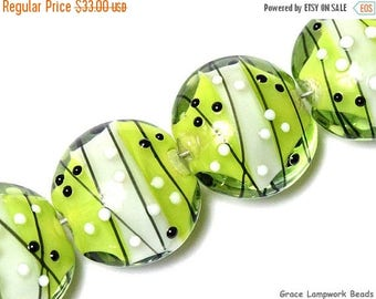 ON SALE 30% off Four May Day Party Lentil Beads - Handmade Glass Lampwork Bead Set 10506912