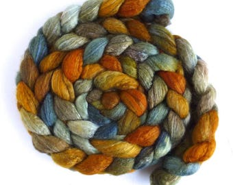 Blueface Leicester/ Tussah Silk Roving (Top) - Handpainted Spinning or Felting Fiber, Cave at Hug Point