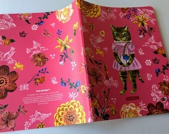 Nathalie Lete Notebook, Stationery note book, journal, diary, nature notebook, gift for her, student gift,PINK PRINCESS CAT