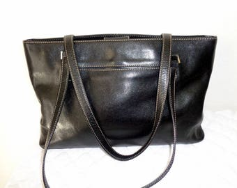 Nordstrom Italian luxury leather  tote, satchel, shoulder bag, multi compartment, thick weathered black leather, vintage pristine