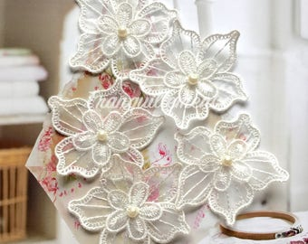 5 Off White Organza Double Layers Floral Flower Faux Pearl Wedding Cocktail Dress Gown Hair Craft Sew On Appliques Embellishment Decorations