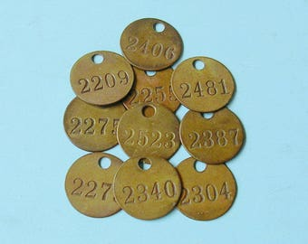 Antique Vintage Brass Tag Tags Number Tag Tags Vintage Jewelry Charm Industrial Tag Farm Tag Steampunk Jewelry  DIY Jewelry