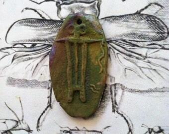 181. Wondrousstrange Raku Ancient Ones  Petroglyph Moss Green Rust Copper Statement Pendant