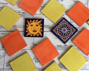 Vintage Mexican Talavera Tile Sol Orange Yellow Cobalt