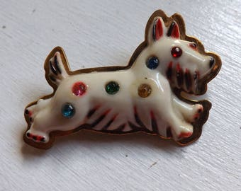 Vintage Art Deco Scottish or West Highland terrier dog celluloid rhinestone brooch or pin hand painted on brass Scottie