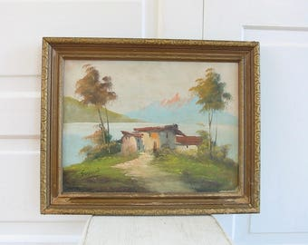 Vintage Landscape Painting, Mountain Painting, Oil Painting, Italy Painting, Vintage Oil Painting, Vintage Oil Painting, Itialian Painting