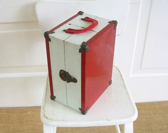 Vintage Doll Case, Red Doll Case, Vintage Red Case, White Doll Case, Red White Case, Small Doll Case, Small Suitcase, Small Case, Metal Case
