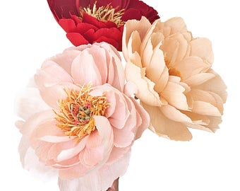 Coral Charm Peony: Handmade Crepe Paper Flower